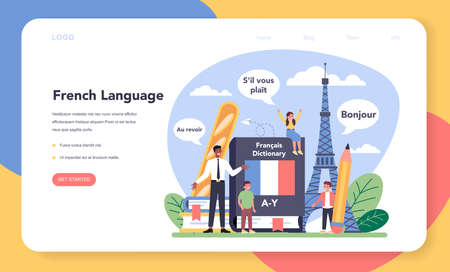 French learning web banner or landing page. Language school 矢量图像