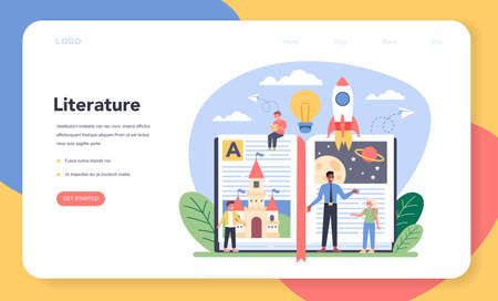 Literature school subject web banner or landing page. Study