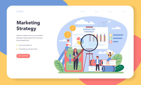 Marketing education school course web banner or landing page