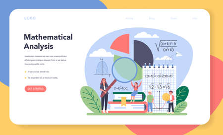 Math school subject web banner or landing page. Learning mathematics