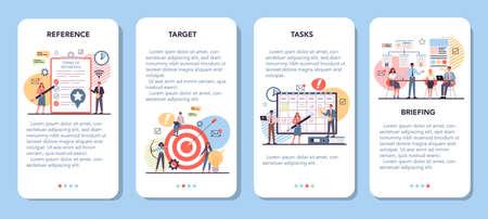 Website mobile application banner set. Process of website development Ilustração
