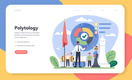Sociology school subject web banner or landing page. Students