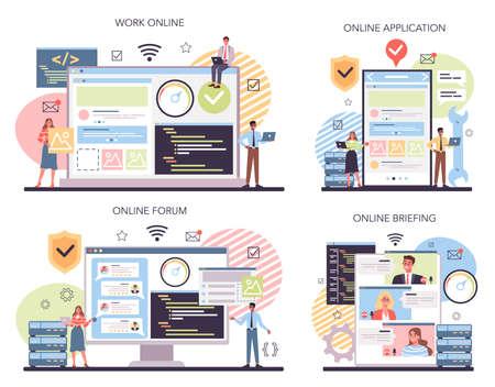 Website technical support online service or platform set. Idea of web Ilustração