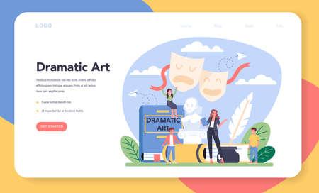Drama class web banner or landing page. Children creative subject 向量圖像