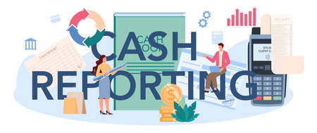 Cash reporting typographic header. Worker behind the cashier Vettoriali