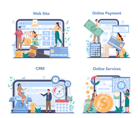 Debt collector online service or platform set. Pursuing payment Çizim