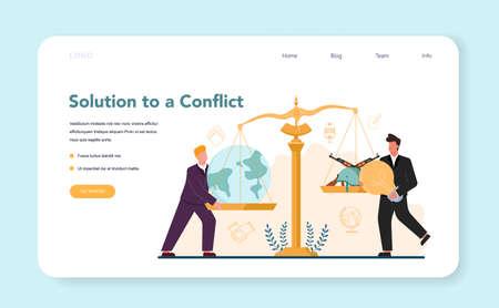 Diplomat profession web banner or landing page. Idea of international