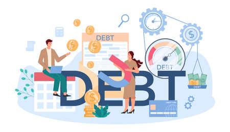 Debt typographic header. Pursuing payment of debt Çizim