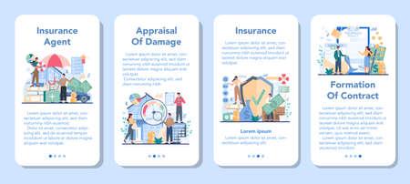 Insurance agent mobile application banner set. Idea of protection Çizim