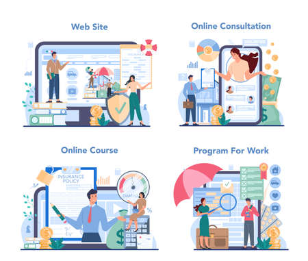 Insurance agent online service or platform set. Idea of protection