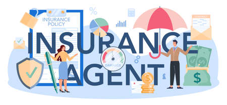 Insurance agent typographic header. Idea of protection of property