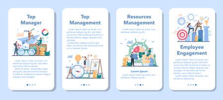 Business top management mobile application banner set Vetores