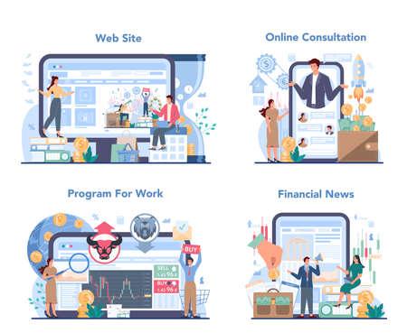 Trader, financial investment online service or platform set. Stock Vecteurs