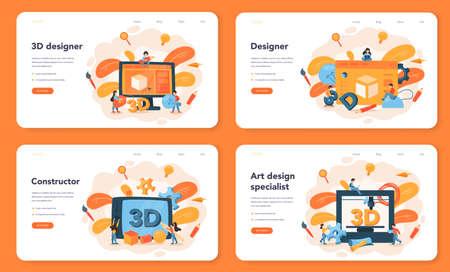 Designer 3D modeling web banner or landing page set. Digital drawing