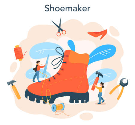 Shoemaker concept. Male and female character mending shoe.