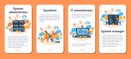 System administrator mobile application banner set. People working