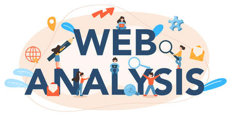 Website analysis typographic header. Web page improvement for business