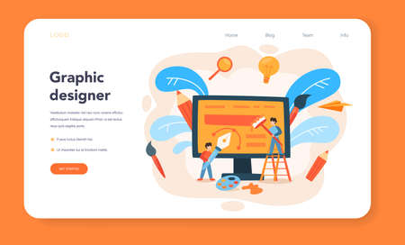 Advert designer or illustrator web banner or landing page. Vecteurs