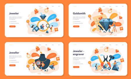 Jeweler and jewelry web banner or landing page set 向量圖像