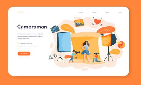 Photographer web banner or landing page. Professional photographer Ilustração