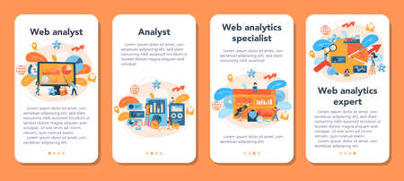 Website analyst mobile application banner set. Web page improvement