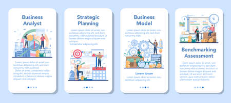 Business analyst mobile application banner set. Project optimization