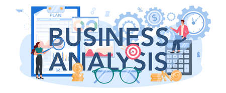 Business analysis typographic header. Project optimization consultant.