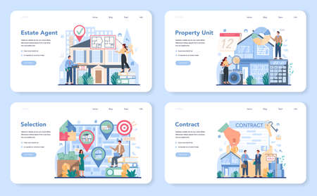 Qualified real estate agent or realtor web banner or landing page