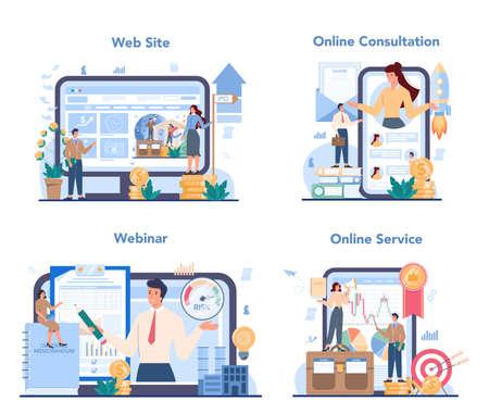 Initial Public Offerings specialist online service or platform set Vetores