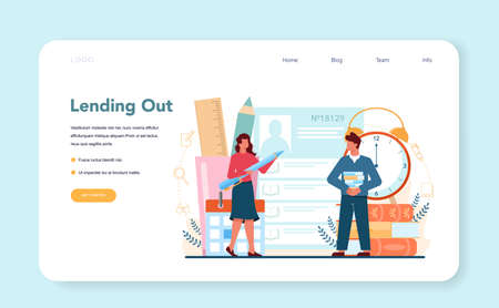 Librarian web banner or landing page. Stock Illustratie