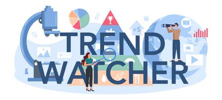 Trend watcher typographic header. Specialist in tracking the emergence Vettoriali