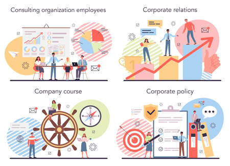 Corporate organization set. Business ethics. Corporate regulations compliance. Illustration