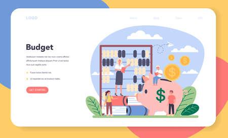 Economy school subject web banner or landing page. Stock Illustratie