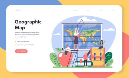 Geography class web banner or landing page. Studying the lands
