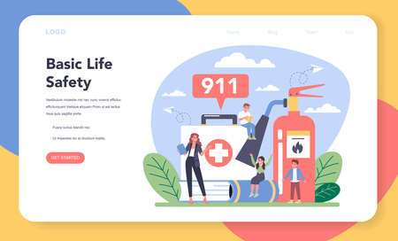 Healthy lifestyle class web banner or landing page. Idea of life safety