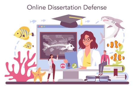 Ichthyologist online service or platform. Ocean fauna scientist.