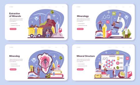 Mineralogist web banner or landing page set. Professional scientist Illusztráció