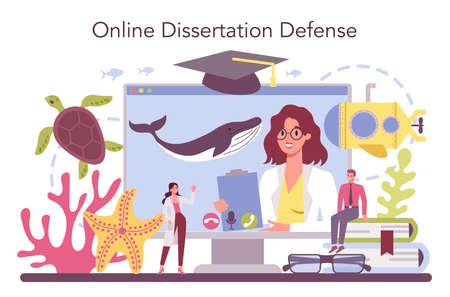 Oceanologist online service or platform. Practical studying and exploration