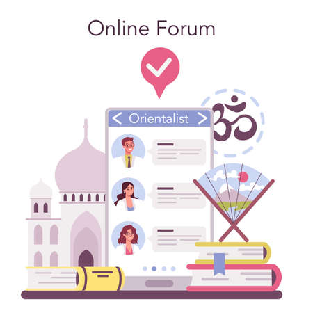 Orientalist online service or platform. Middle Eastern, African Stock Illustratie