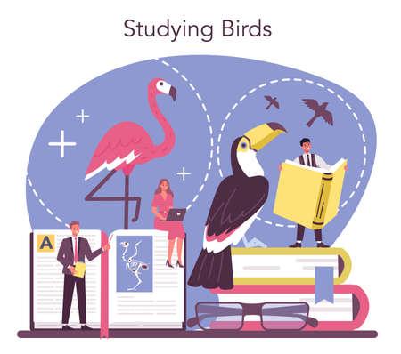 Ornithologist concept. Professional scientist study birds. Zoologist