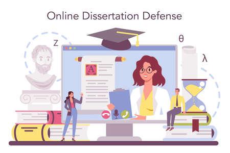 Philologist online service or platform. Professional scientist studying