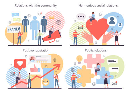 Public relations concept set. Idea of brand advertising, building