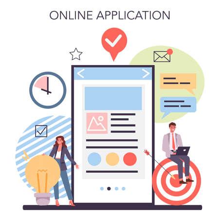 Website creation online service or platform. Process of website