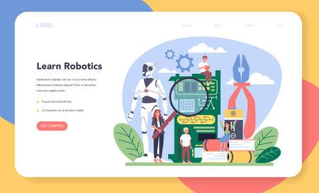 Robotics school subject web banner or landing page.