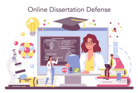Scientist online service or platform. Idea of education and innovation