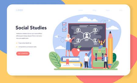 Sociology school subject web banner or landing page. Stock Illustratie