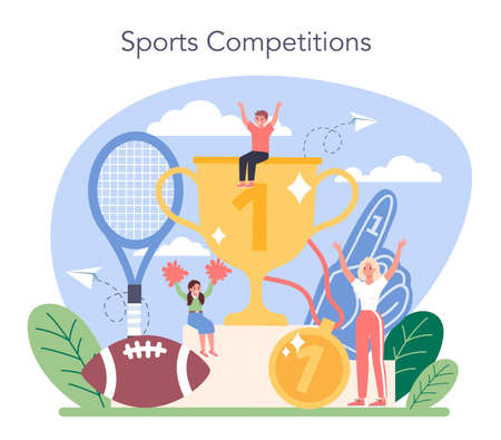 Physical education or school sport class concept. Stock Illustratie