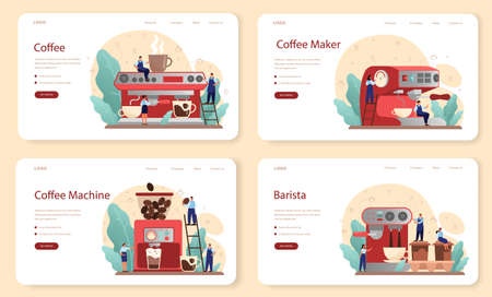Coffee web banner or landing page set. Barista making a cup of hot