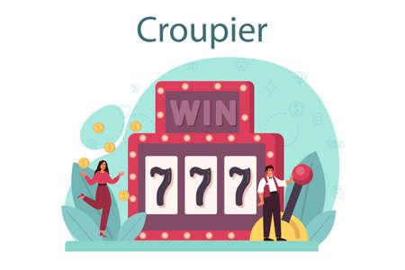 Croupier concept. Dealer in casino near roulette table. Person in uniform