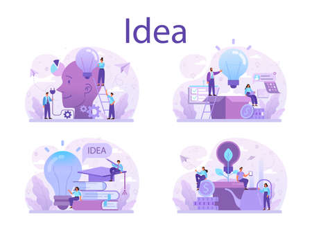 Idea concept set. Creative innovation and brainstorm. Solution generation Stock Illustratie